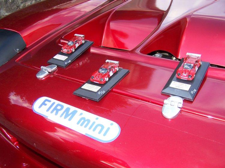 Les trois modèles différents posés sur la voiture en taille réelle